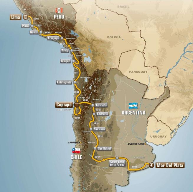 Parcours Dakar 2012