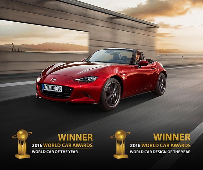 Le Nouveau Mazda MX-5 remporte les prestigieux prix« Voiture mondiale de l'année » et « Design automobile mondial de l'année » 2016