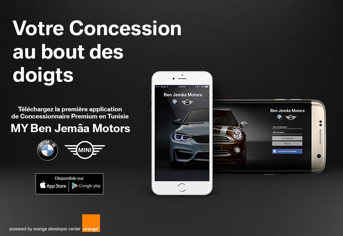 """Ben Jemâa Motors lance la 1ère application """"Concessionnaire Auto"""" en Tunisie,  en partenariat avec Orange Developer Center"""
