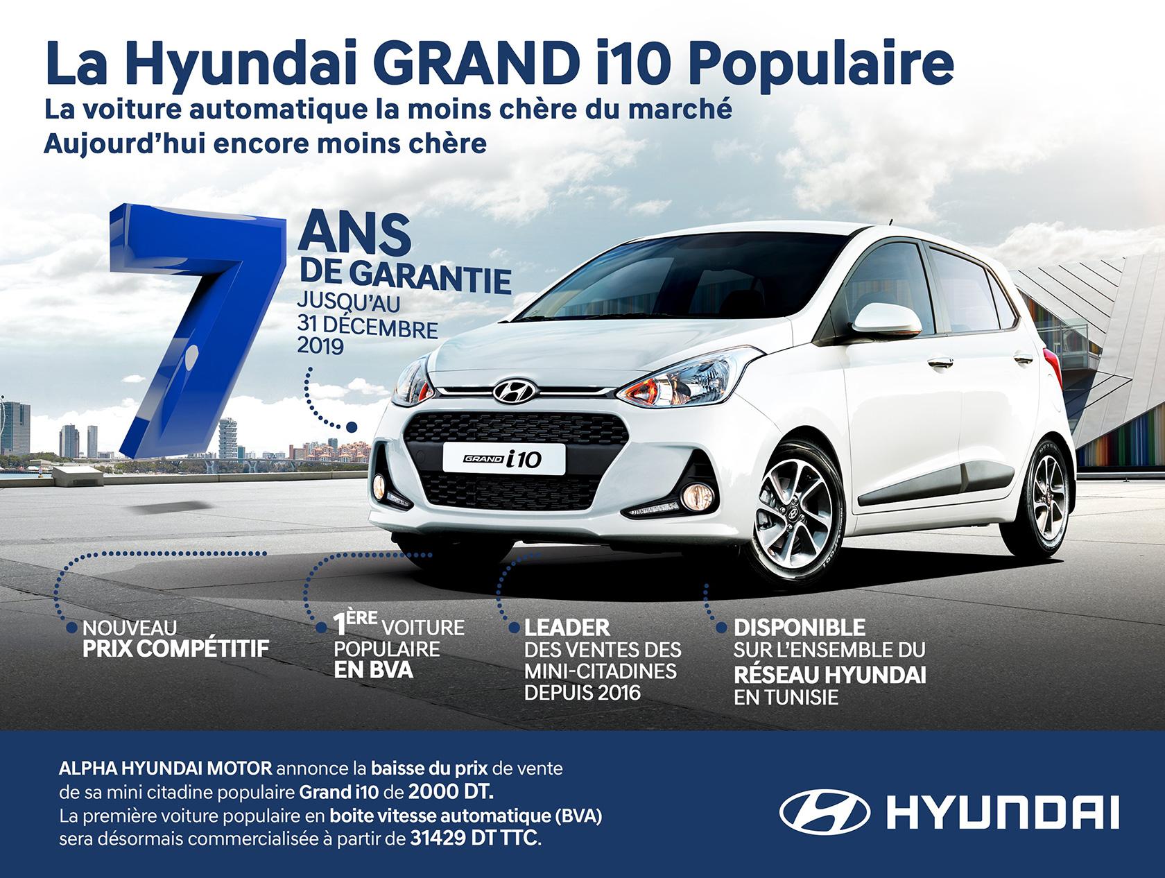 Baisse du prix de la Hyundai Grand i10 populaire