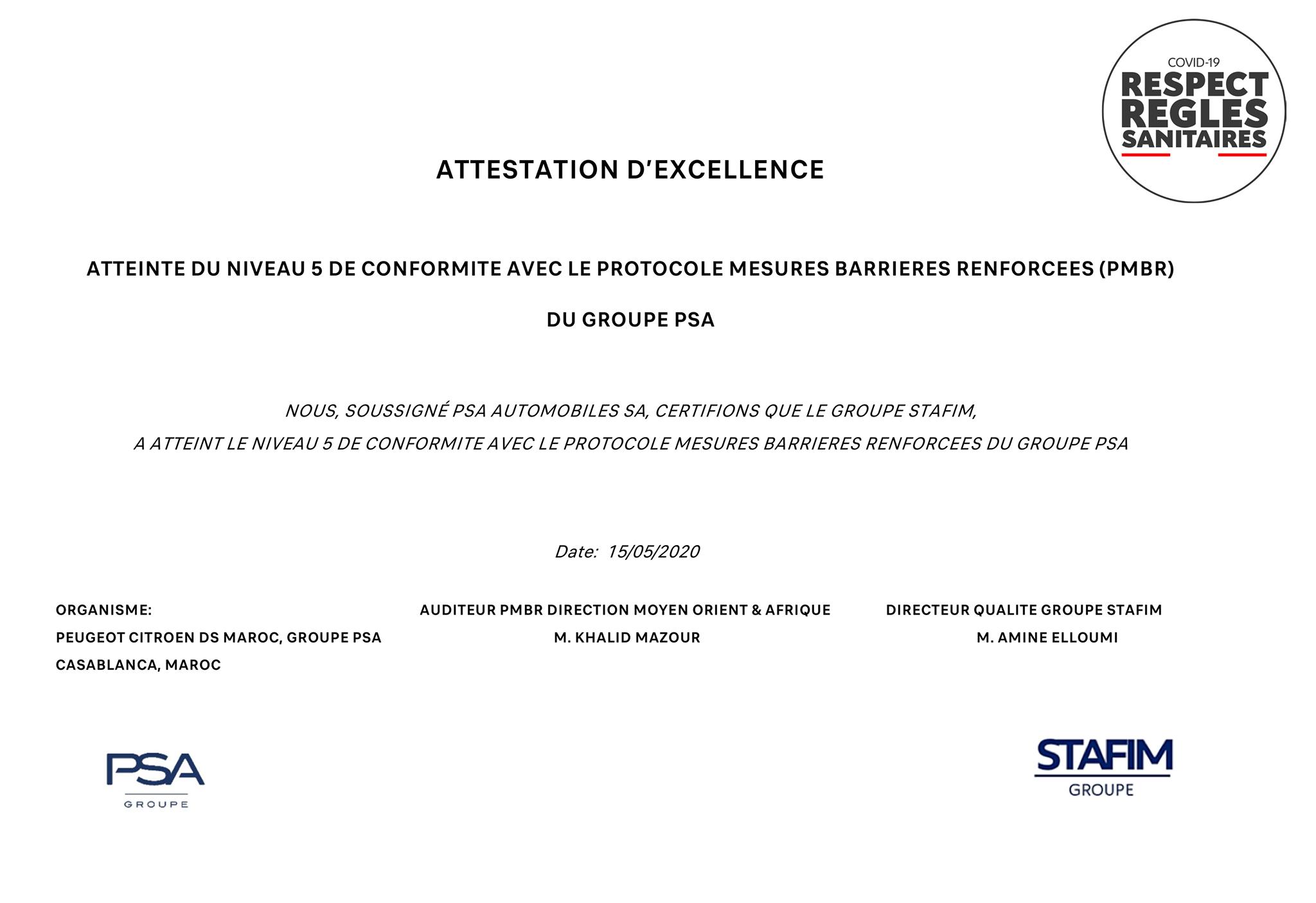 STAFIM Peugeot obtient l'attestation d'excellence pour le respect des règles sanitaires covid-19
