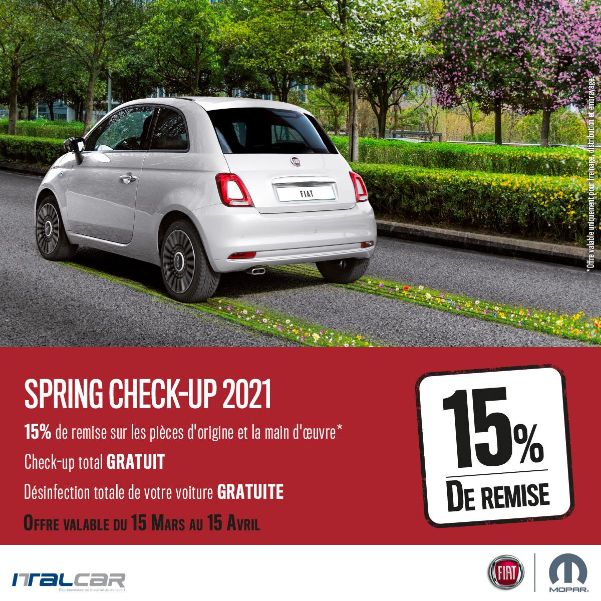 Spring Check-up chez Italcar, 15% de remise sur les pièces d'origine et la main d'oeuvre